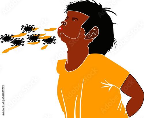 A boy spiting saliva with Corona virus an awareness symbol presented with cartoon vector illustration Canvas-taulu