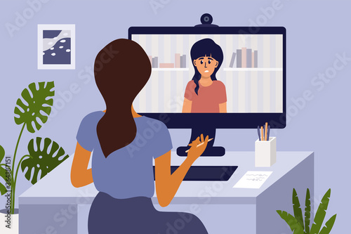 Video call with psychologist through computer by web cam Canvas