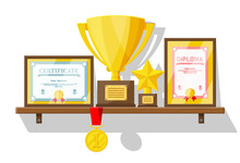 Trophy And Awards Collection On Wooden Shelf. Diploma And Certificate In Frames. Competition Prizes, Cups And Medals. Award, Victory, Goal, Champion Achievement. Vector Illustration In Flat Style
