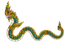 Golden Dragon Or Serpent Or Naga Legendary Animal Of Thailand