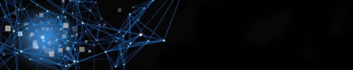 Futuristic plexus panorama design with square objects