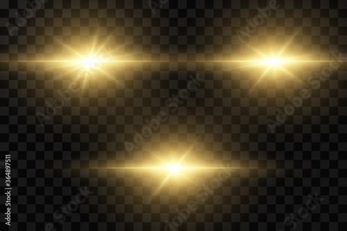 Obraz Shining golden stars isolated on black background. Effects, glare, lines, glitter, explosion, golden light. Vector illustration - fototapety do salonu