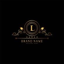 L Premium Luxury Gold Monogram Logo. L Letter Logo. L Monogram Luxury Gold Logo.