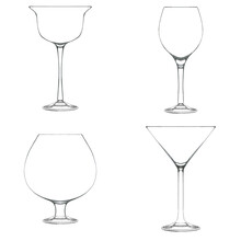 Set Of Glasses For Cocktail Isolated On White. Hand Drawn Illustration. Pencil Sketch Of Empty Glassware For Alcohol Drink. Design Element For Bar And Restaurant Menu, Recipes, Flyers.