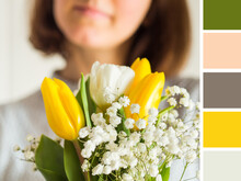 Woman Holding Bouquet Of Tulip...