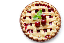 Cherry Pie Isolated On A White...