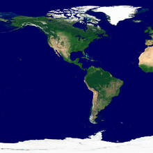 Western Hemisphere Texture. Satellite Image Of The Earth. High Resolution Texture Of The Planet With Relief Shading (land Topography) And Without Atmosphere.