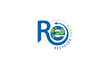 Letter R and E logo formed globe symbol in a simple and modern shape