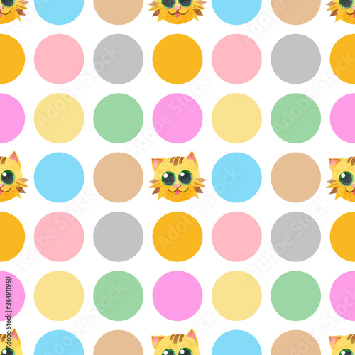 Seamless pattern with funny cat face. Creative Scandinavian children's texture. Watercolor illustrations on a polka dot background. Great for fabrics, textiles, websites, wallpaper, packaging, cards.