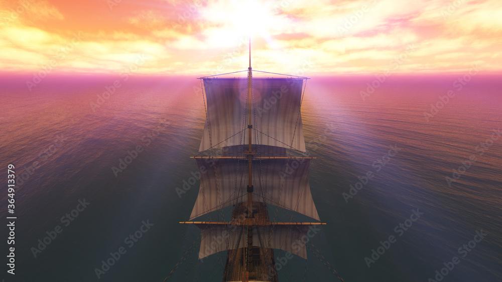 Fototapeta old ship sunset at sea 3d rendering