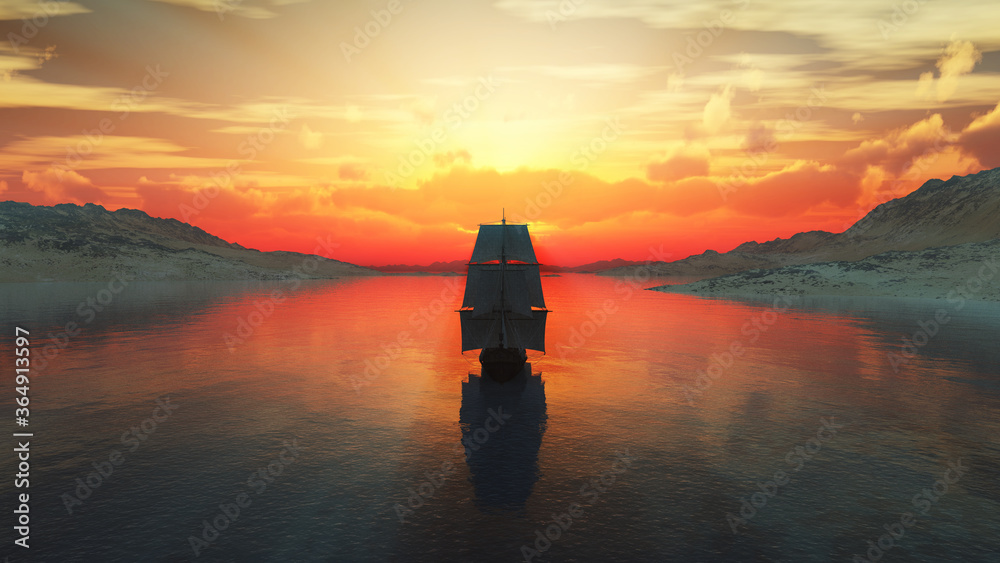 Fototapeta old ship at sea sunset illustration