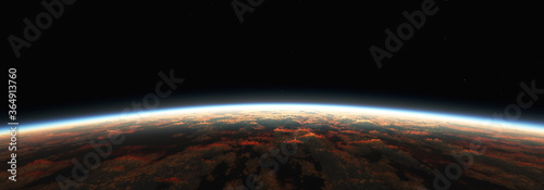 Fototapeta Earth sunrise from space over cloudy ocean. 3d rendering