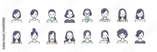 女性のシンプルアイコン・カラー Fototapete
