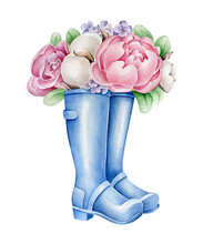 Flowers In Boots. Watercolor P...
