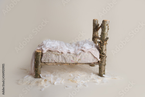 White wooden log bed for newborns digital backdrop Wallpaper Mural