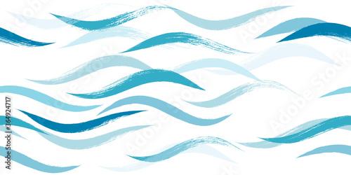 Obraz na plátně Seamless Wave Pattern, Hand drawn water sea modern vector background