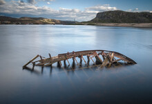 An Old Shipwreck Or Wrecked Bo...