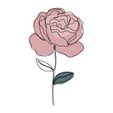 Rose icon Line art. Abstract minimal flower design for cover, prints, floral wall art, Home decor picture, fabric and wallpaper. Vector illustration