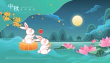 Rabbits Enjoy The Full Moon On...