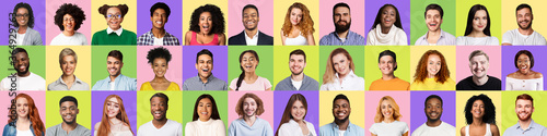 Fototapeta Set Of People Faces Smiling And Laughing On Colorful Backgrounds