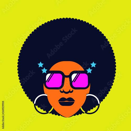 Obraz na plátně Retro Disco woman 70s hairstyle