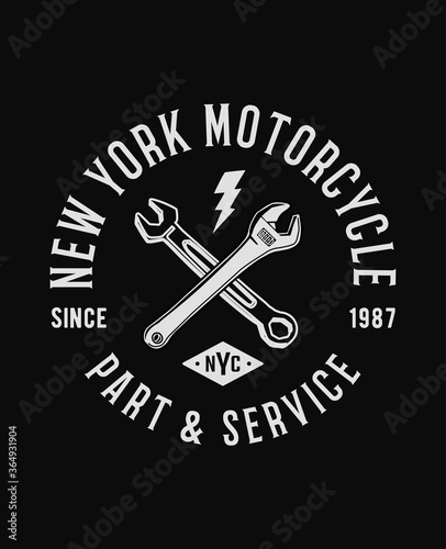 Tela New York motorcycle theme typography and illustrations , t-shirt graphics, vectors