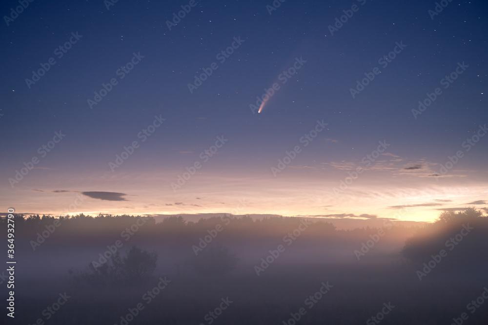 Fototapeta Comet in night landscape