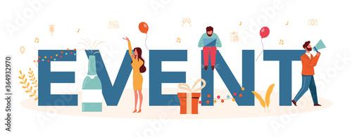 Fototapeta Event or service typographic header concept. Celebration or meeting obraz