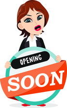 Smart Businesswoman Holding A Big Opening Soon Banner Badge Sign Display Sales Coming Soon Change Your Text For Fit Your Needs