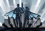 Fototapeta Miasto - superheroes in the city