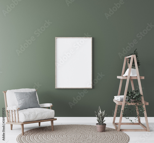 Obraz Mockup frame in living room interior, natural wooden furniture on green background, 3d render - fototapety do salonu