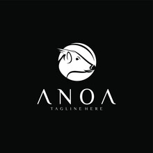 Anoa Animal Logo Design Template