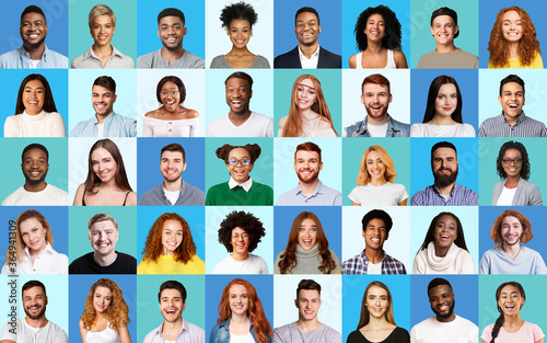 Obraz Composite Picture Of Diverse People Expressing Happiness Over Blue Backgrounds - fototapety do salonu