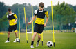 Soccer education; training with agility poles. Youth soccer players on a drill. Football training for junior level footballers. Young athletes running balls in slalom between agility poles