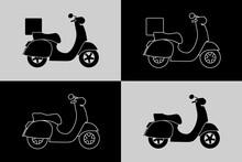 Pictogramme D'une Silhouette D'un Scooter, Noir Ou En Filet, Avec Ou Sans Caisse De Livraison.