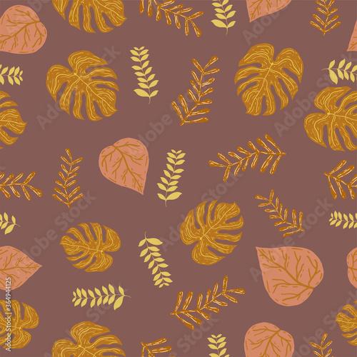 Fototapeta Leaf orange and chocolate color vector seamless pattern. Beautiful orange and chocolate leaf retro background. The elegant fabric on light background Surface pattern design. obraz na płótnie