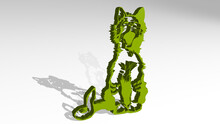 KITTY CAT Made By 3D Illustration Of A Shiny Metallic Sculpture With The Shadow On Light Background. Cute And Animal