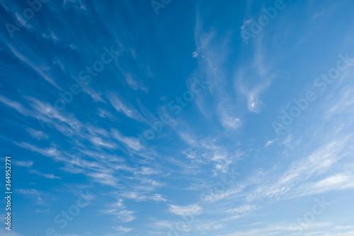 Obraz na plátně Ciel bleu avec des nuages éfilés pendant l'été
