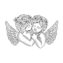 Mother Tattoo Design Kissing Her Child. Vector Illustration Of Mother Kissing Her Child