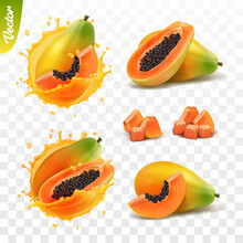 3d Realistic Transparent Isolated Vector Set, Whole And Slice Of Papaya Fruit, Papaya In A Splash Of Juice With Drops, Mango In A Splash Of Milk Or Yogurt