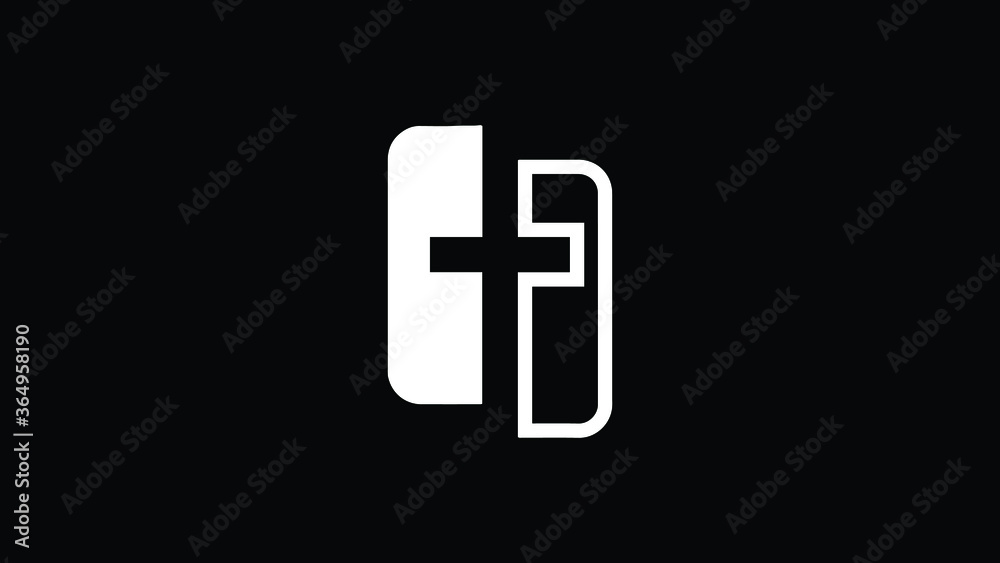 Fototapeta icon logo of a church cross with letter F