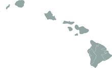 Grey Blank Hawaii  State Map.