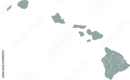 Fototapeta Grey blank Hawaii  state map.