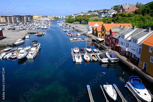 Fototapeta Haugesund harbour and boats Haugesund, Norway obraz na płótnie