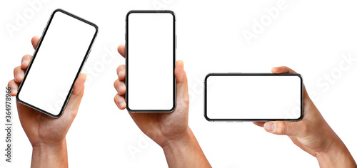 Man hand holding the black smartphone with blank screen and modern frameless des Canvas Print