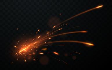 Big spark effect on transparent background