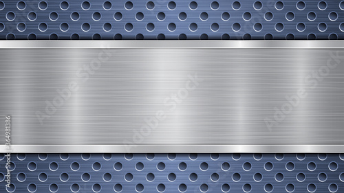 Background of blue perforated metallic surface with holes and horizontal silver Fototapet