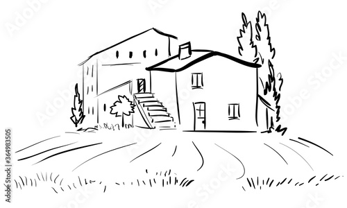 Fototapeta Italian house with stairs and poplars