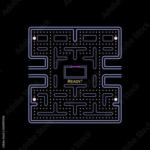 Valokuvatapetti Illustration imitate scene of famous old arcade video game