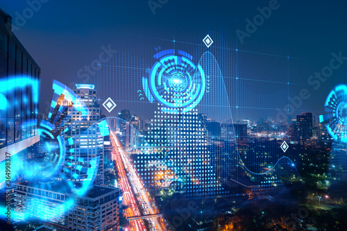 Abstract technology icons, night aerial panoramic cityscape of Bangkok, Asia Wallpaper Mural